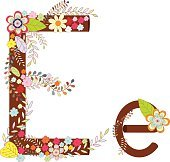 Alphabet E Flowers Vector