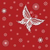 Ornamented abstract lace snowflake butterfly and simple snowflakes