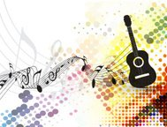 Guitar playe with music note background