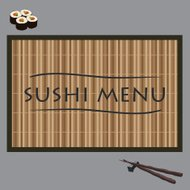 vector illustration sushi on bamboo
