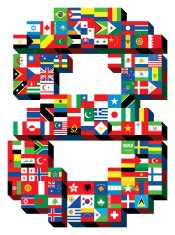 number eight with national flags pattern