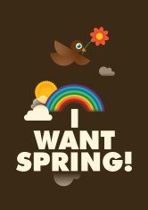 Spring poster with a comic bird.