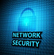 Network security concept on digital screen