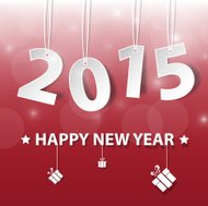Vector Modern red simple Happy new year 2015.
