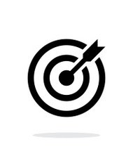 Successful shoot. Darts target aim icon on white background.