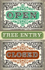 Vintage Label Set Open, Closed, Free Entry