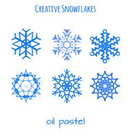 Set of snowflake hand drawn with oil pastels