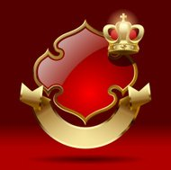 Badge with ribbon and crown. Retro design element