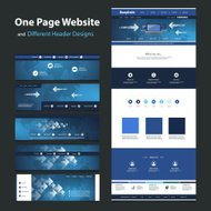 One Page Website Design Template and Different Headers