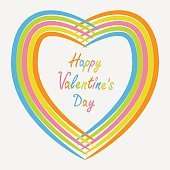 Rainbow abstract heart frame. Flat design. Happy Valentines day card