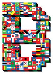 letter B with national flags pattern