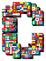letter C with national flags pattern