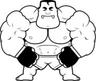 Cartoon MMA Fighter Angry