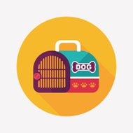 Pet dog travel cage flat icon with long shadow,eps10