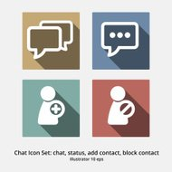 Basic Chat Icon Set: Chat, Status, Add Contact, Block Contact