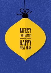 Abstract yellow vector bauble with winter grunge background.