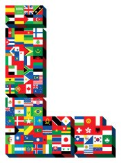 letter L with national flags pattern