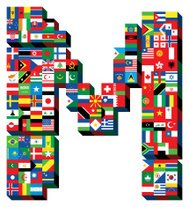 letter M with national flags pattern