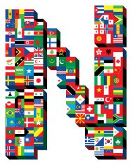 letter N with national flags pattern