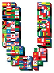 letter V with national flags pattern