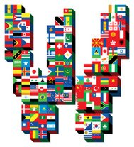 letter W with national flags pattern