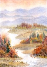 Watercolor landscape. River in the autumn forest