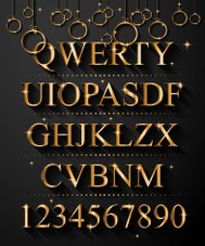 Christmas Golden Alphabet for party flyers