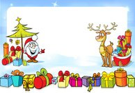 christmas frame with Santa Claus and sleights