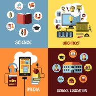 Educational concept designs in flat style