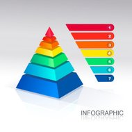 Pyramid infographic  colorful  Vector.