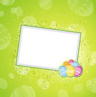 color easter eggs over green  background