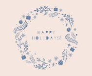 Happy Holidays Seasonal Greeting card with round ornament