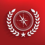 Compass badge on red background,clean vector