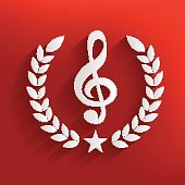 Song badge on red background,clean vector