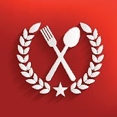 Spoon badge on red background,clean vector