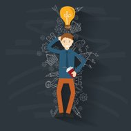 Idea businessman on blackboard background,vector