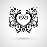 Deco Floral Heart on Gray Background. Design element
