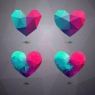Geometric shapes heart.Template for Valentines Day.Abstract poly