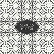 Vector seamless retro vintage hipster line pattern with flowers.