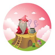 Witch preparing a potion cute vector illustration