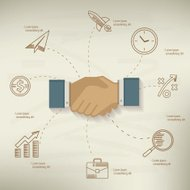 Shake hand,Business design,info graphic on old paper background