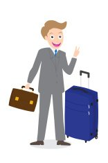 Young businessman showing victory fingers sign with luggage isol