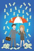young smiley couple with umbrella standing under money rain