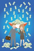 young smiley couple with upturned umbrella standing under money rain