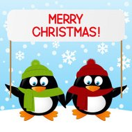 Cute cartoon penguins on winter background