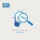 Idea symbol,sticker design,blue version,clean vector