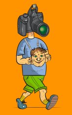 The comical tourist with a camera instead of the head