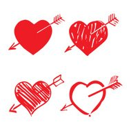red hearts and arrows
