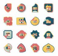 Building tag flat design background set, eps10