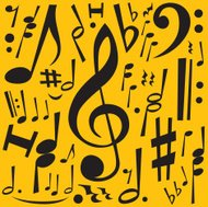 Music Notes Freehand Drawing